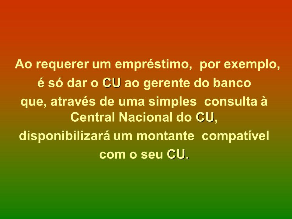 Ao requerer um empréstimo, por exemplo, CU é só dar o CU ao gerente do banco CU que, através de uma simples consulta à Central Nacional do CU, disponi