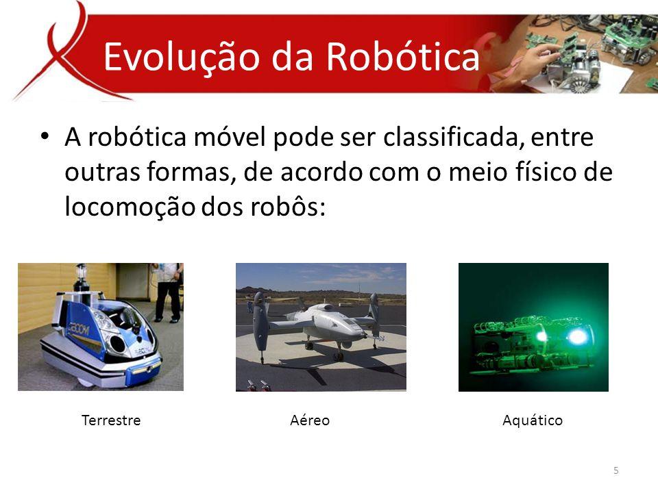 • A robótica móvel pode ser classificada, entre outras formas, de acordo com o meio físico de locomoção dos robôs: Evolução da Robótica 5 Terrestre Aéreo Aquático