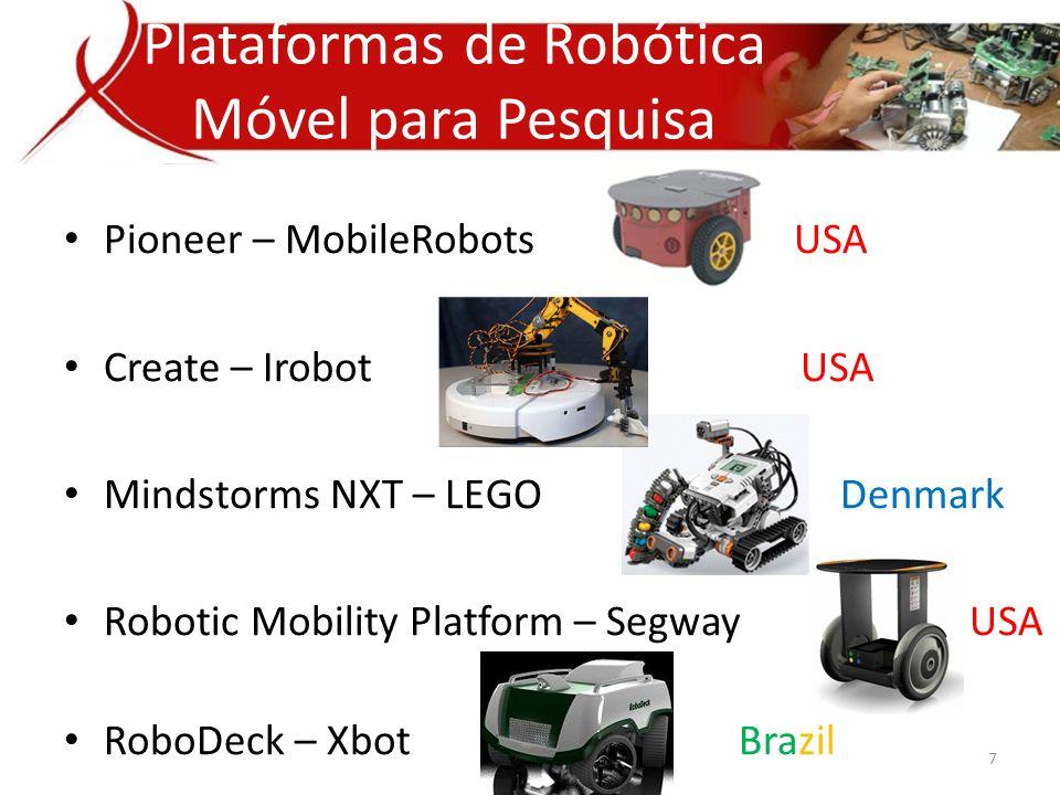 • Pioneer – MobileRobots USA • Create – Irobot USA • Mindstorms NXT – LEGO Denmark • Robotic Mobility Platform – Segway USA • RoboDeck – Xbot Brazil Plataformas de Robótica Móvel para Pesquisa 7