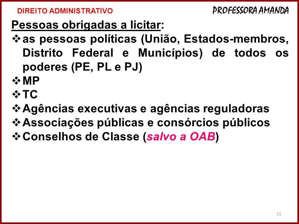 11 Pessoas obrigadas a licitar:  as pessoas políticas (União, Estados-membros, Distrito Federal e Municípios) de todos os poderes (PE, PL e PJ)  MP