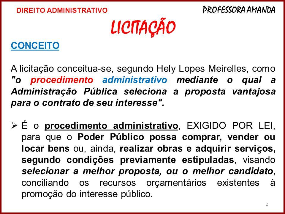 2 LICITAÇÃO CONCEITO A licitação conceitua-se, segundo Hely Lopes Meirelles, como