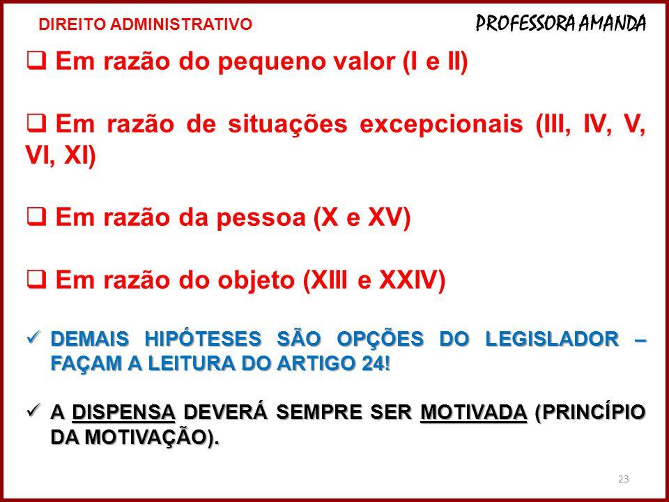 23  Em razão do pequeno valor (I e II)  Em razão de situações excepcionais (III, IV, V, VI, XI)  Em razão da pessoa (X e XV)  Em razão do objeto (