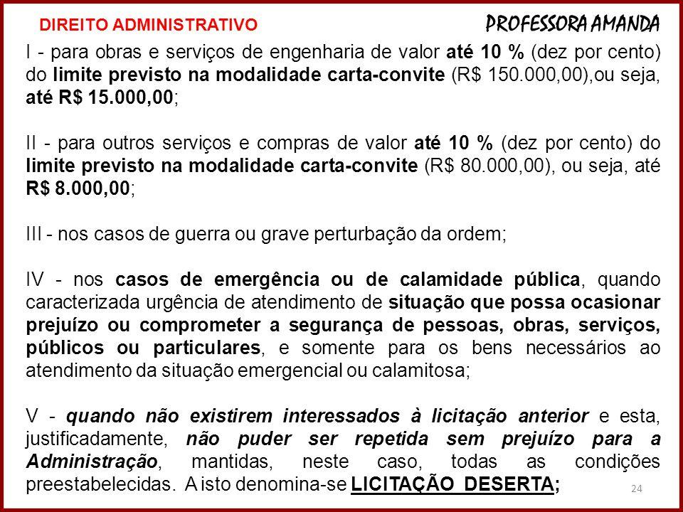 24 I - para obras e serviços de engenharia de valor até 10 % (dez por cento) do limite previsto na modalidade carta-convite (R$ 150.000,00),ou seja, a