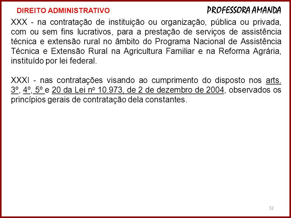32 XXX - na contratação de instituição ou organização, pública ou privada, com ou sem fins lucrativos, para a prestação de serviços de assistência téc
