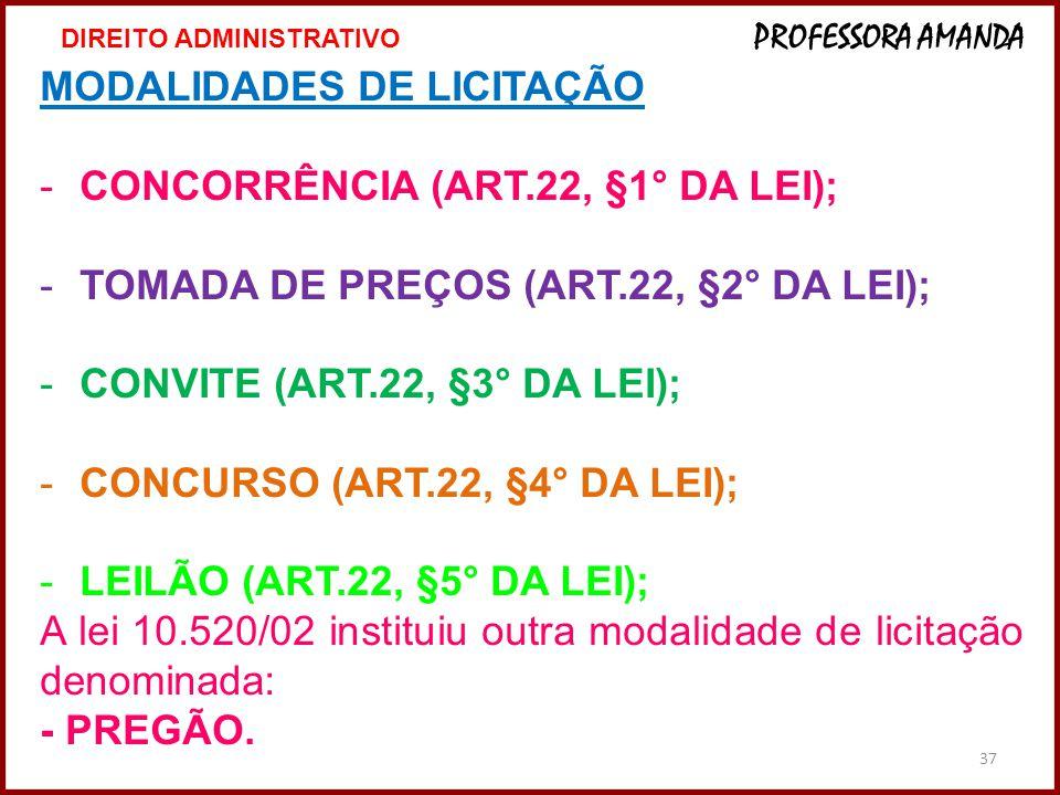 37 MODALIDADES DE LICITAÇÃO -CONCORRÊNCIA (ART.22, §1° DA LEI); -TOMADA DE PREÇOS (ART.22, §2° DA LEI); -CONVITE (ART.22, §3° DA LEI); -CONCURSO (ART.