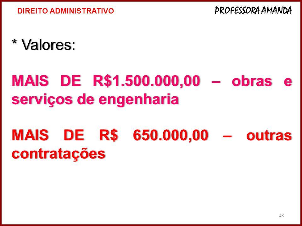 43 * Valores:* Valores: MAIS DE R$1.500.000,00 – obras e serviços de engenharia MAIS DE R$ 650.000,00 – outras contratações 43 DIREITO ADMINISTRATIVO