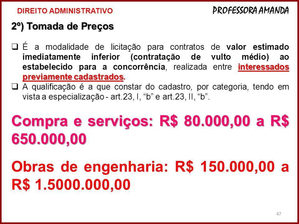 47 2º) Tomada de Preços interessados previamente cadastrados  É a modalidade de licitação para contratos de valor estimado imediatamente inferior (co