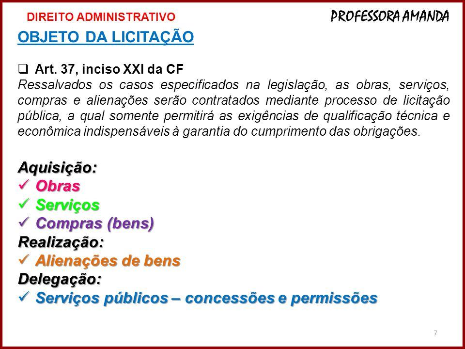 7 OBJETO DA LICITAÇÃO  Art. 37, inciso XXI da CF Ressalvados os casos especificados na legislação, as obras, serviços, compras e alienações serão con