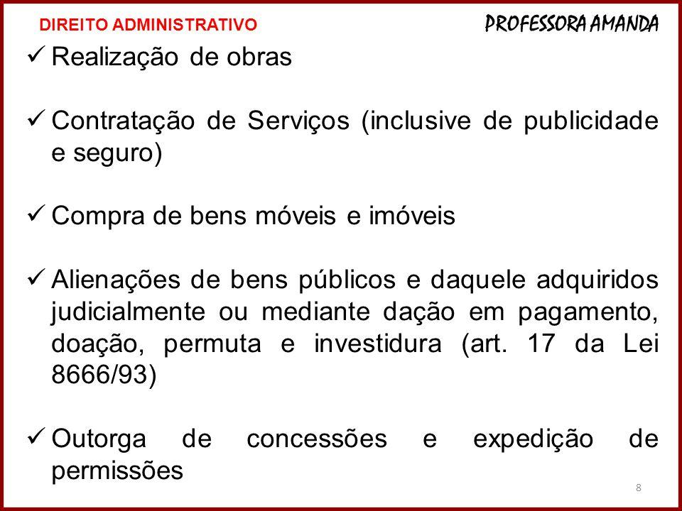 8  Realização de obras  Contratação de Serviços (inclusive de publicidade e seguro)  Compra de bens móveis e imóveis  Alienações de bens públicos