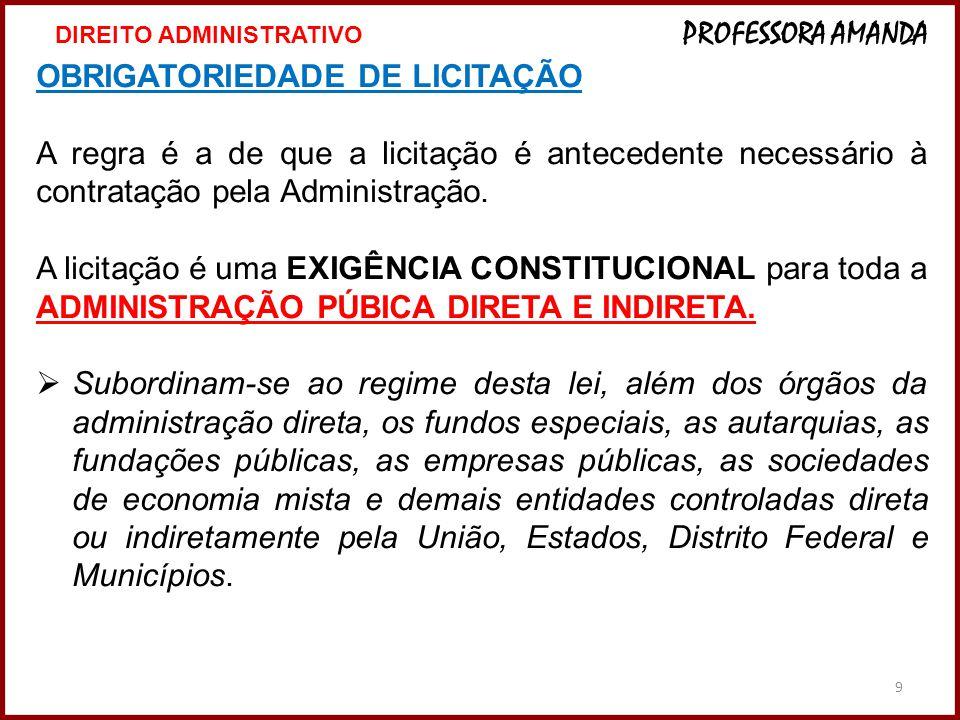 20 INEXIGIBILIDADE de Licitação SÃO EXEMPLIFICATIVOS  Os casos de INEXIGIBILIDADE de Licitação SÃO EXEMPLIFICATIVOS (podem ser alterados ou surgirem outros casos).