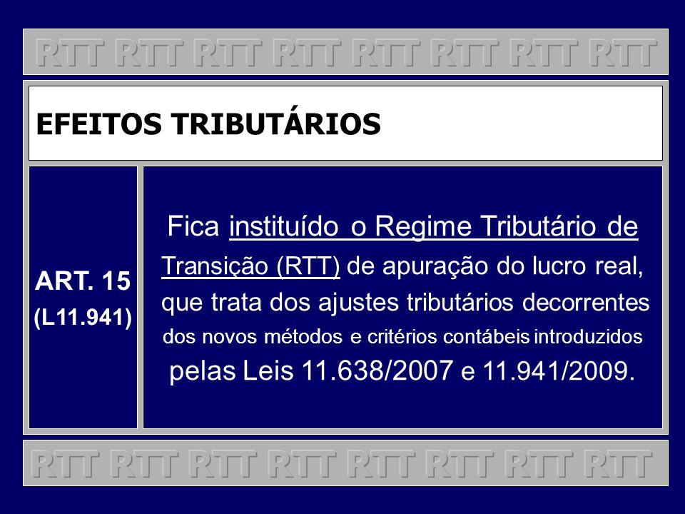EFEITOS TRIBUTÁRIOS ART. 15 (L11.941) Fica instituído o Regime Tributário de Transição (RTT) de apuração do lucro real, que trata dos ajustes tributár