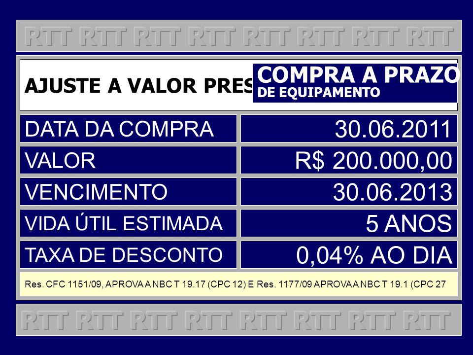 AJUSTE A VALOR PRESENTE COMPRA A PRAZO DE EQUIPAMENTO DATA DA COMPRA 30.06.2011 VALOR R$ 200.000,00 VENCIMENTO 30.06.2013 VIDA ÚTIL ESTIMADA 5 ANOS TA