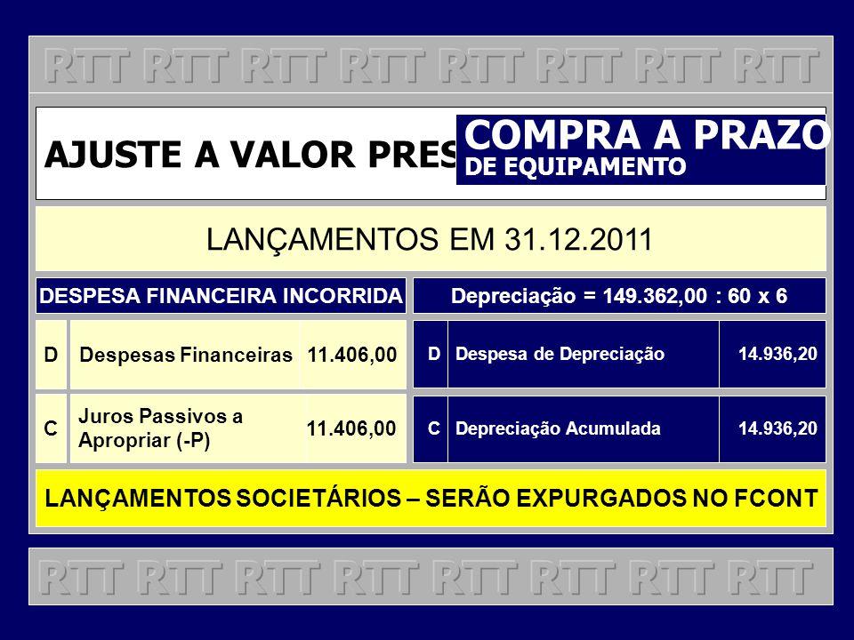 AJUSTE A VALOR PRESENTE COMPRA A PRAZO DE EQUIPAMENTO LANÇAMENTOS EM 31.12.2011 DDespesas Financeiras11.406,00 C Juros Passivos a Apropriar (-P) 11.40