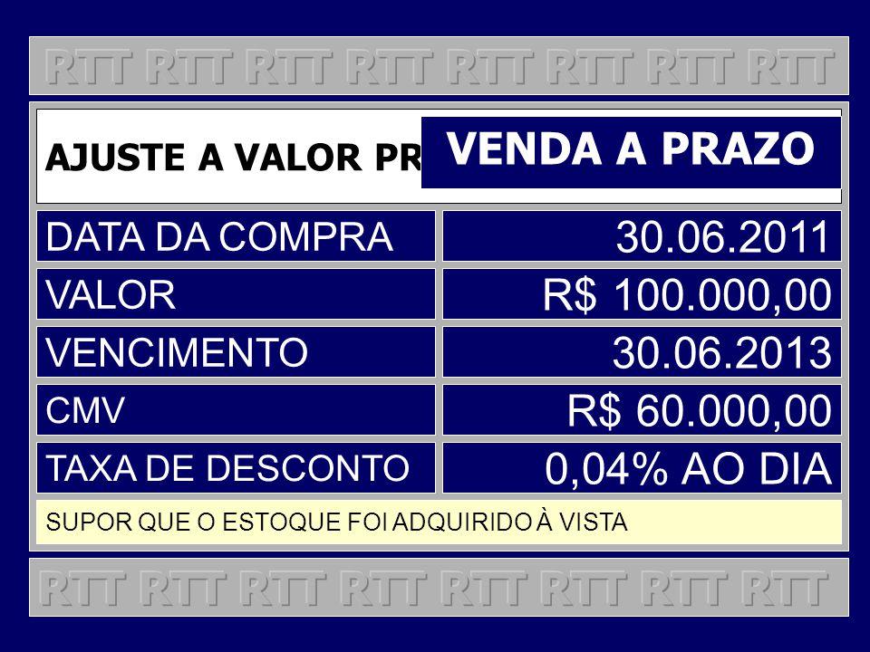 AJUSTE A VALOR PRESENTE VENDA A PRAZO DATA DA COMPRA 30.06.2011 VALOR R$ 100.000,00 VENCIMENTO 30.06.2013 CMV R$ 60.000,00 TAXA DE DESCONTO 0,04% AO D