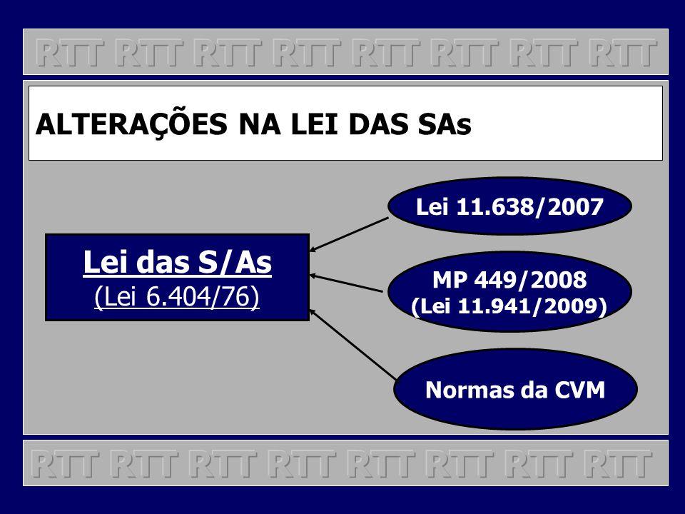 ALTERAÇÕES NA LEI DAS SAs Lei das S/As (Lei 6.404/76) Lei 11.638/2007 MP 449/2008 (Lei 11.941/2009) Normas da CVM