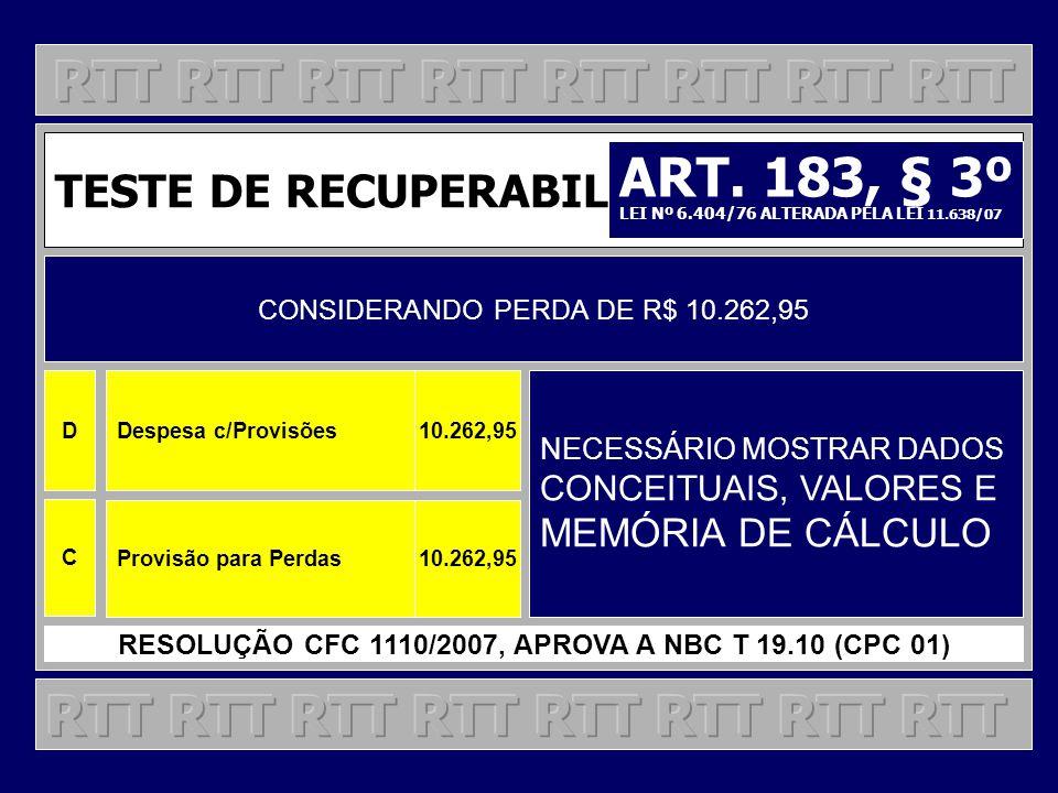 TESTE DE RECUPERABILIDADE CONSIDERANDO PERDA DE R$ 10.262,95 NECESSÁRIO MOSTRAR DADOS CONCEITUAIS, VALORES E MEMÓRIA DE CÁLCULO RESOLUÇÃO CFC 1110/200