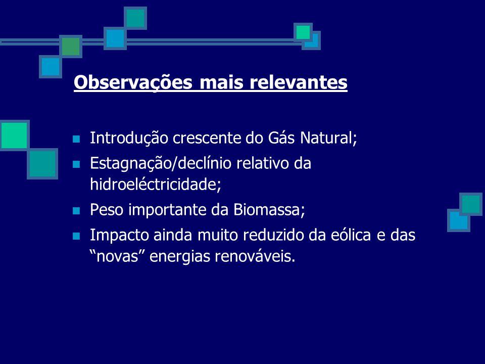 Observações mais relevantes  Introdução crescente do Gás Natural;  Estagnação/declínio relativo da hidroeléctricidade;  Peso importante da Biomassa