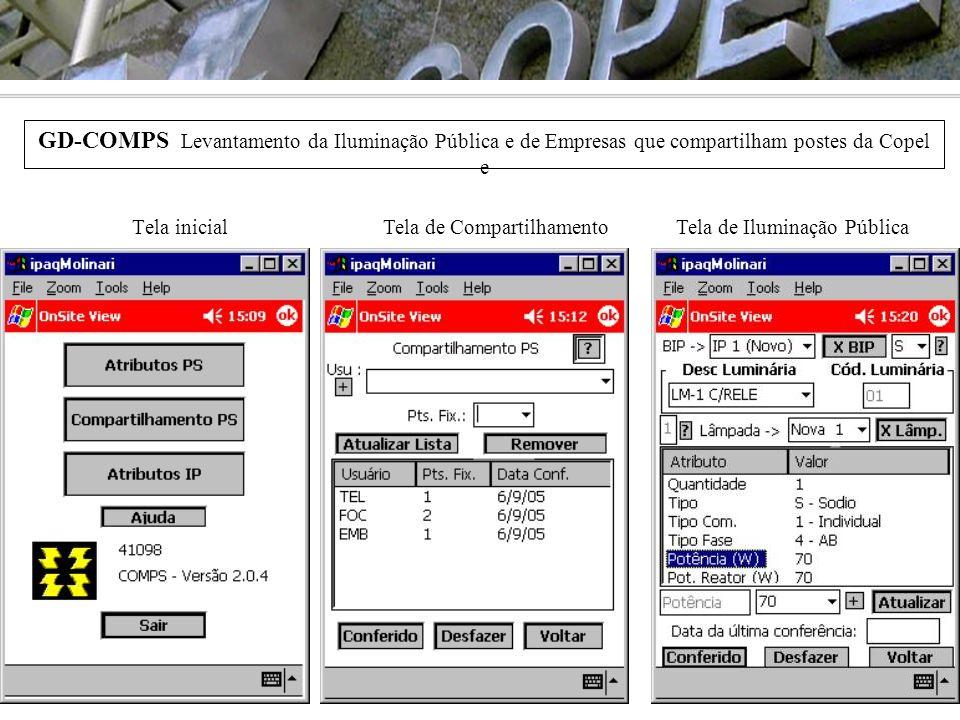 GD-COMPS Levantamento da Iluminação Pública e de Empresas que compartilham postes da Copel e Tela inicialTela de CompartilhamentoTela de Iluminação Pú