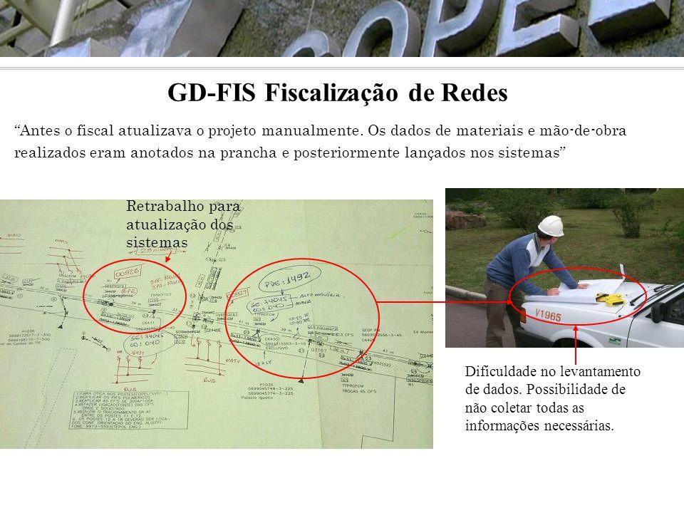 """GD-FIS Fiscalização de Redes """"Antes o fiscal atualizava o projeto manualmente. Os dados de materiais e mão-de-obra realizados eram anotados na prancha"""