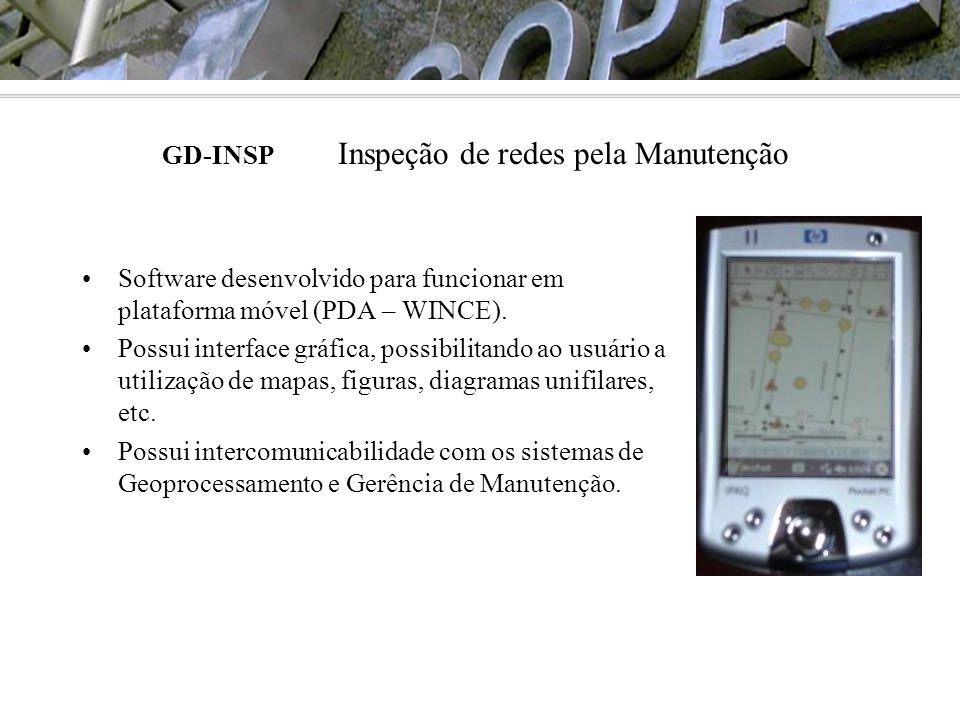 •Software desenvolvido para funcionar em plataforma móvel (PDA – WINCE). •Possui interface gráfica, possibilitando ao usuário a utilização de mapas, f