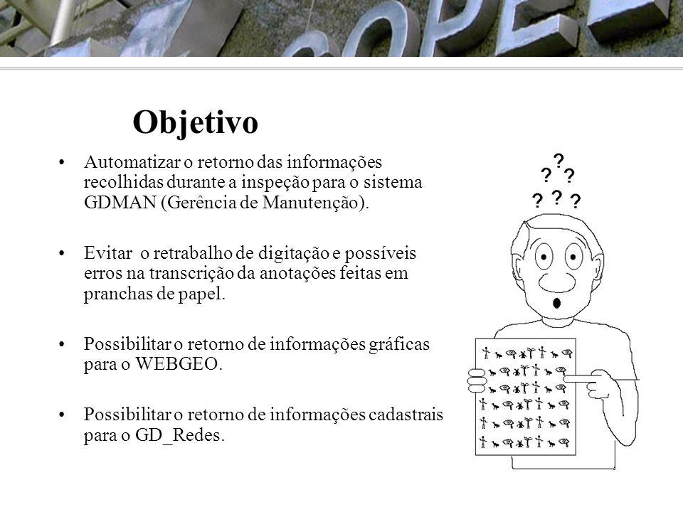 •Automatizar o retorno das informações recolhidas durante a inspeção para o sistema GDMAN (Gerência de Manutenção). •Evitar o retrabalho de digitação