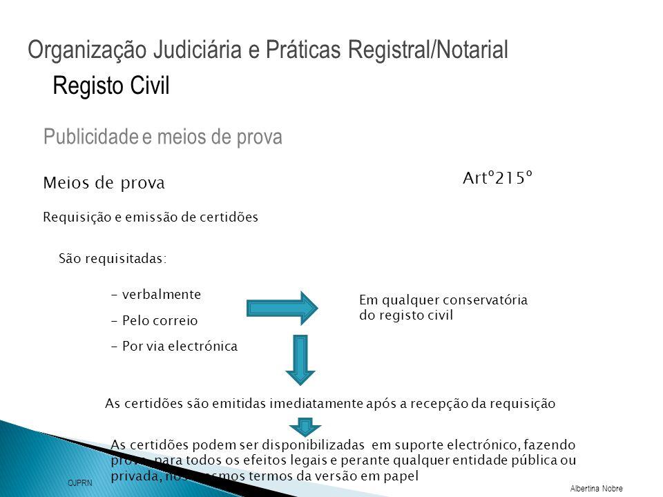 Organização Judiciária e Práticas Registral/Notarial Albertina Nobre OJPRN Registo Civil Meios de prova Publicidade e meios de prova Requisição e emis