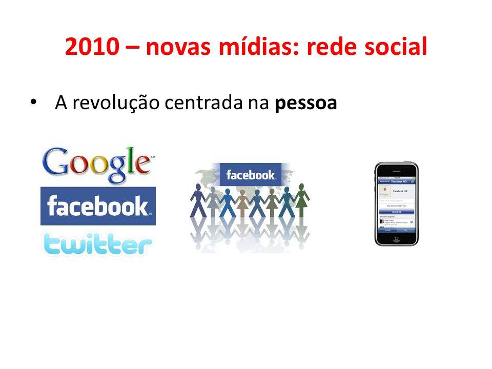 2010 – novas mídias: rede social • A revolução centrada na pessoa