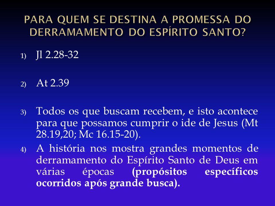1) Jl 2.28-32 2) At 2.39 3) Todos os que buscam recebem, e isto acontece para que possamos cumprir o ide de Jesus (Mt 28.19,20; Mc 16.15-20). 4) A his
