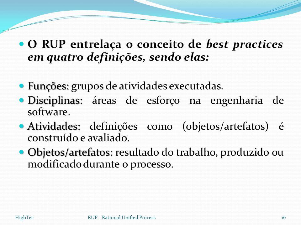  O RUP entrelaça o conceito de best practices em quatro definições, sendo elas:  Funções:  Funções: grupos de atividades executadas.  Disciplinas: