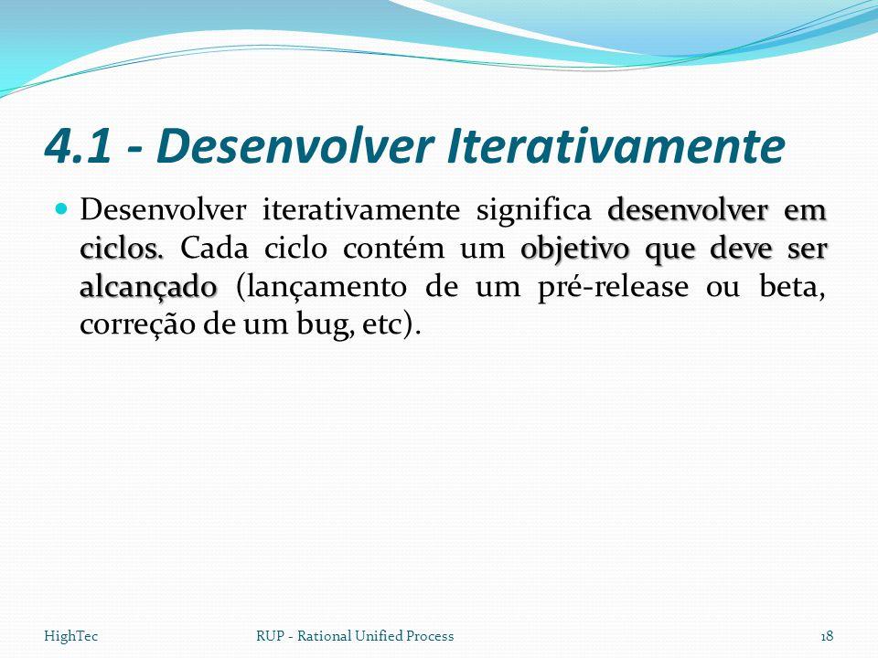 4.1 - Desenvolver Iterativamente desenvolver em ciclos. objetivo que deve ser alcançado  Desenvolver iterativamente significa desenvolver em ciclos.