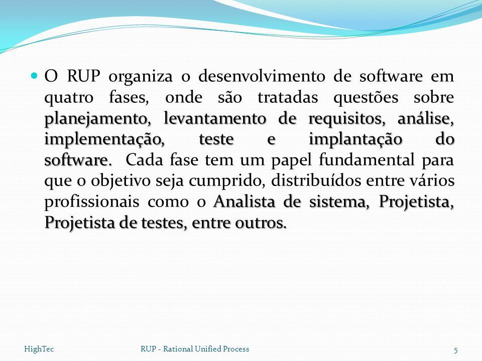 planejamento, levantamento de requisitos, análise, implementação, teste e implantação do software. Analista de sistema, Projetista, Projetista de test