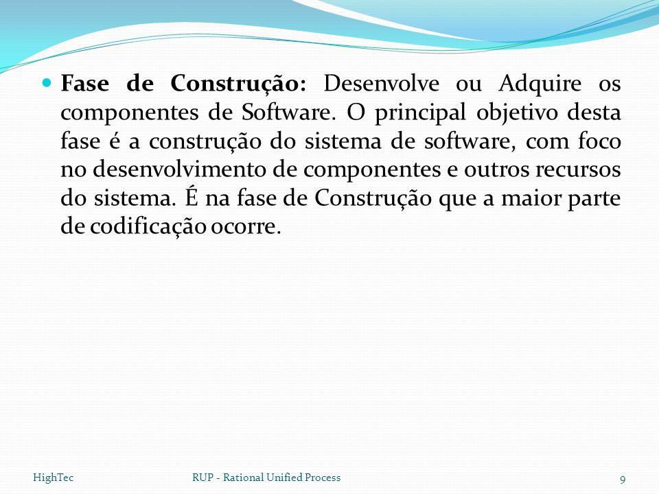  Fase de Construção: Desenvolve ou Adquire os componentes de Software. O principal objetivo desta fase é a construção do sistema de software, com foc