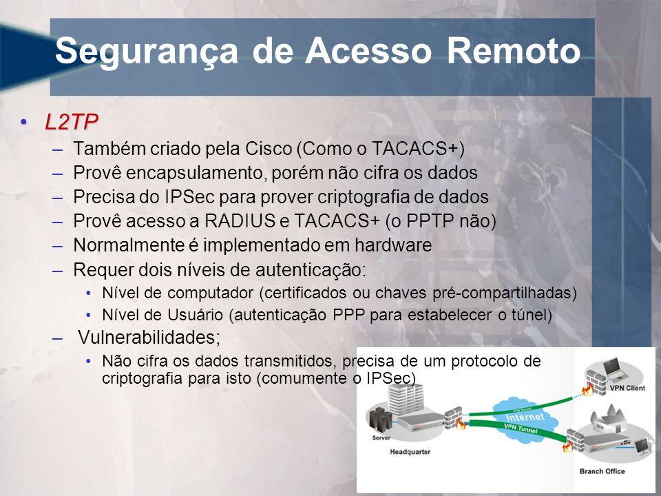 Segurança de Acesso Remoto •L2TP –Também criado pela Cisco (Como o TACACS+) –Provê encapsulamento, porém não cifra os dados –Precisa do IPSec para prover criptografia de dados –Provê acesso a RADIUS e TACACS+ (o PPTP não) –Normalmente é implementado em hardware –Requer dois níveis de autenticação: •Nível de computador (certificados ou chaves pré-compartilhadas) •Nível de Usuário (autenticação PPP para estabelecer o túnel) – Vulnerabilidades; •Não cifra os dados transmitidos, precisa de um protocolo de criptografia para isto (comumente o IPSec)