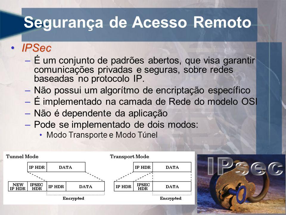 Segurança de Acesso Remoto •IPSec –É um conjunto de padrões abertos, que visa garantir comunicações privadas e seguras, sobre redes baseadas no protocolo IP.
