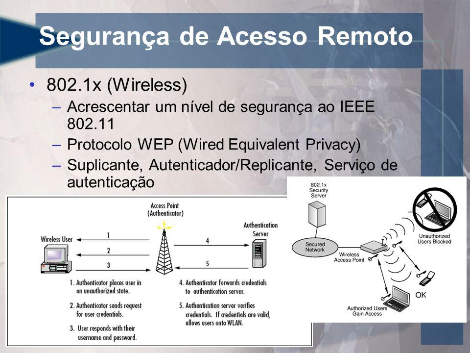 Segurança de Acesso Remoto •802.1x (Wireless) –Acrescentar um nível de segurança ao IEEE 802.11 –Protocolo WEP (Wired Equivalent Privacy) –Suplicante,