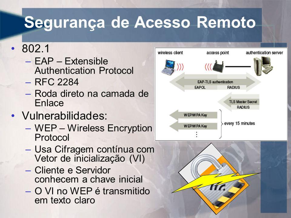 Segurança de Acesso Remoto •802.1 –EAP – Extensible Authentication Protocol –RFC 2284 –Roda direto na camada de Enlace •Vulnerabilidades: –WEP – Wireless Encryption Protocol –Usa Cifragem contínua com Vetor de inicialização (VI) –Cliente e Servidor conhecem a chave inicial –O VI no WEP é transmitido em texto claro