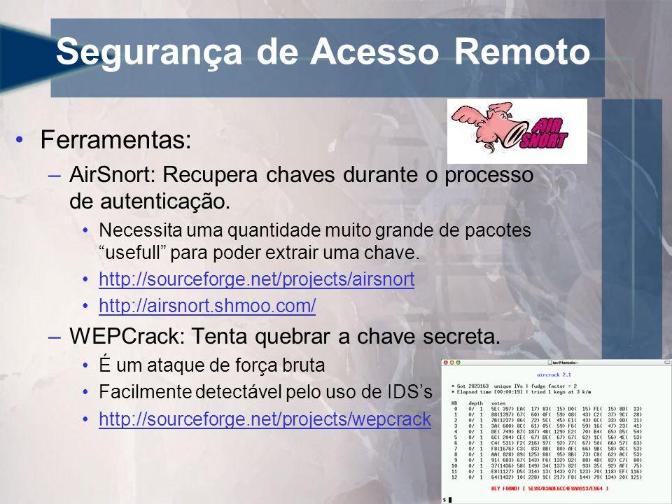Segurança de Acesso Remoto •Ferramentas: –AirSnort: Recupera chaves durante o processo de autenticação. •Necessita uma quantidade muito grande de paco