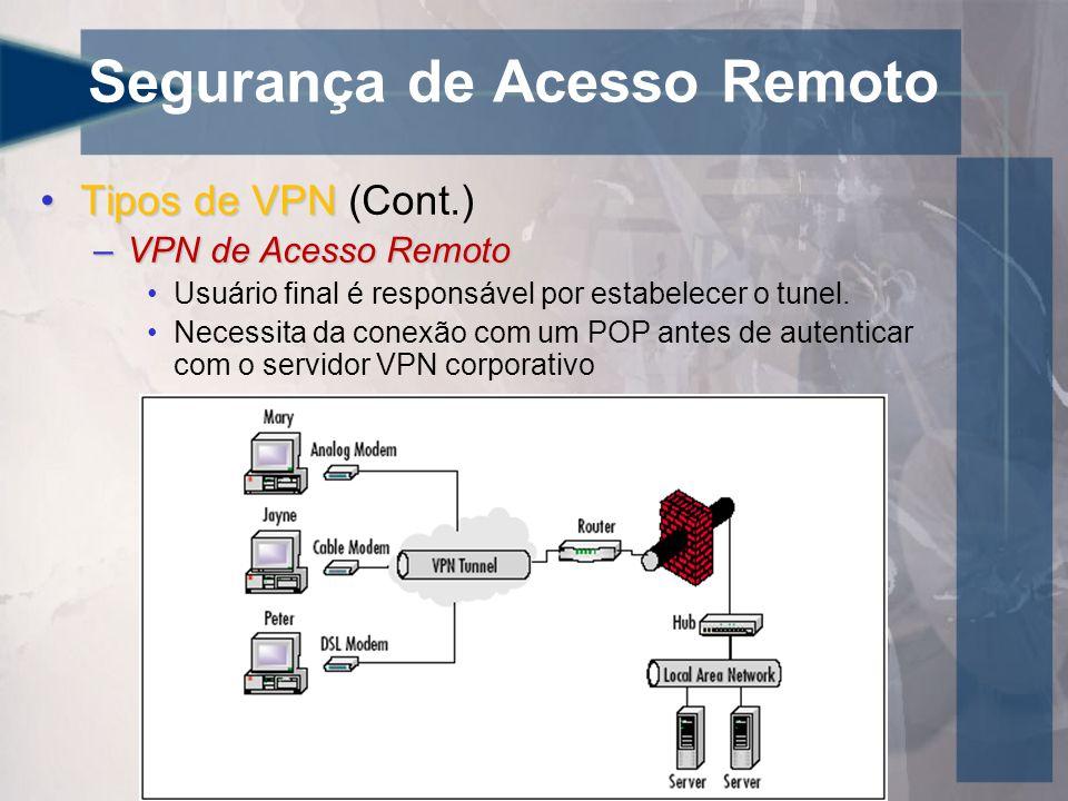 Segurança de Acesso Remoto •Tipos de VPN •Tipos de VPN (Cont.) –VPN de Acesso Remoto •Usuário final é responsável por estabelecer o tunel. •Necessita