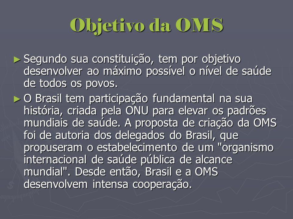 Objetivo da OMS ► Segundo sua constituição, tem por objetivo desenvolver ao máximo possível o nível de saúde de todos os povos. ► O Brasil tem partici
