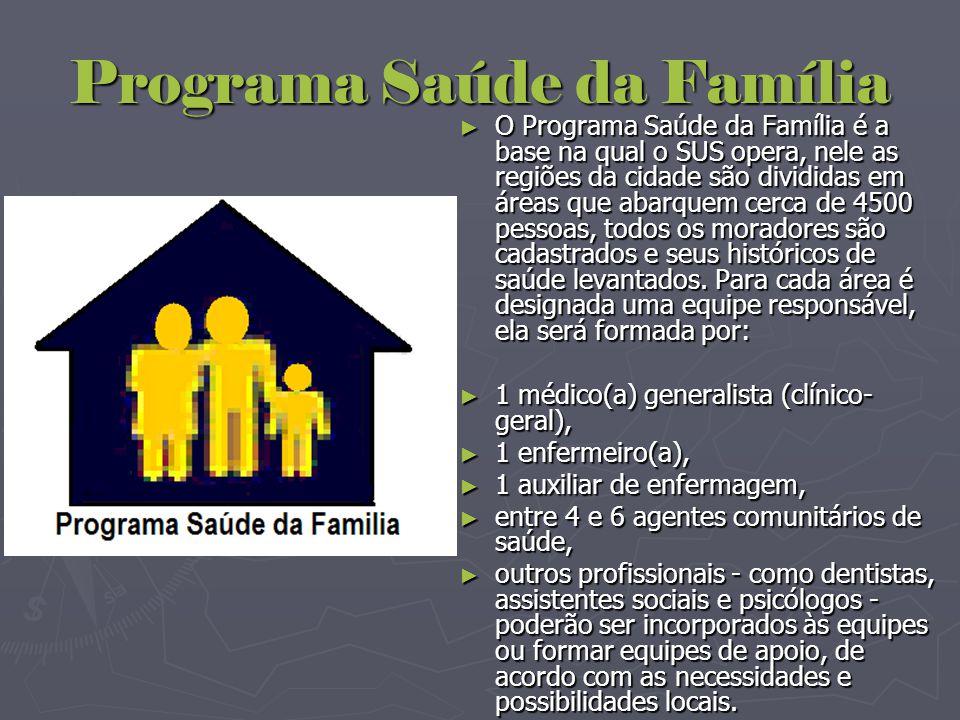 Programa Saúde da Família ► O Programa Saúde da Família é a base na qual o SUS opera, nele as regiões da cidade são divididas em áreas que abarquem ce