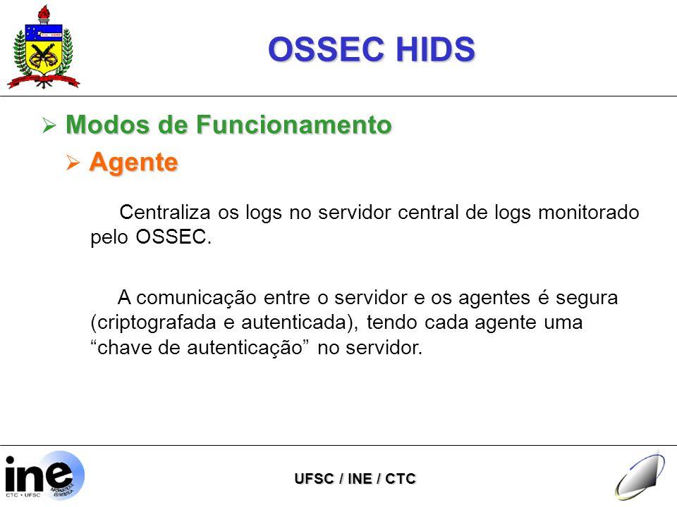 OSSEC HIDS UFSC / INE / CTC Centraliza os logs no servidor central de logs monitorado pelo OSSEC.