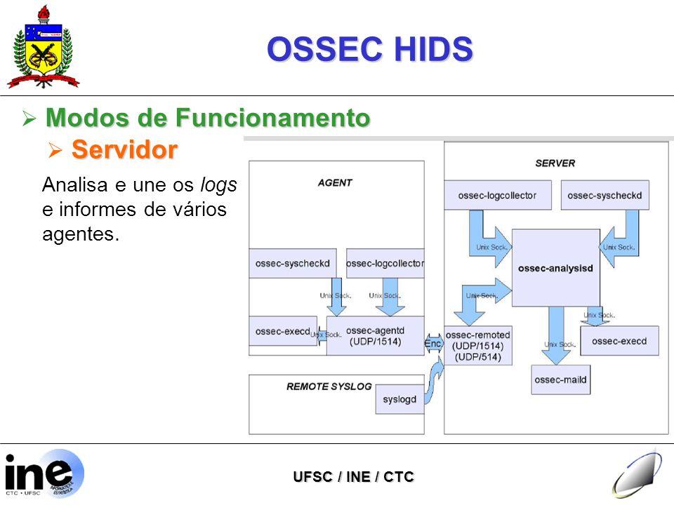 OSSEC HIDS UFSC / INE / CTC Analisa e une os logs e informes de vários agentes.