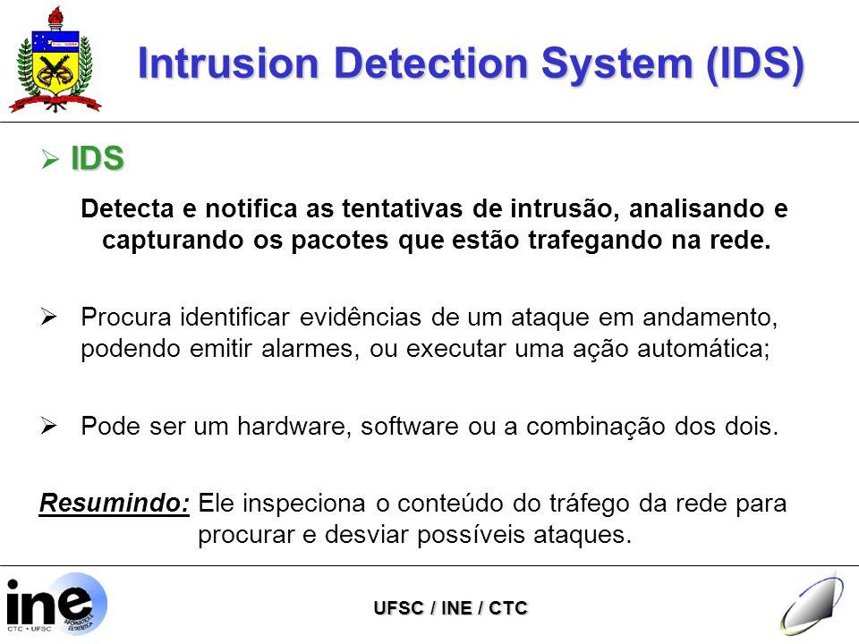 Intrusion Detection System (IDS) UFSC / INE / CTC IDS  IDS Detecta e notifica as tentativas de intrusão, analisando e capturando os pacotes que estão trafegando na rede.
