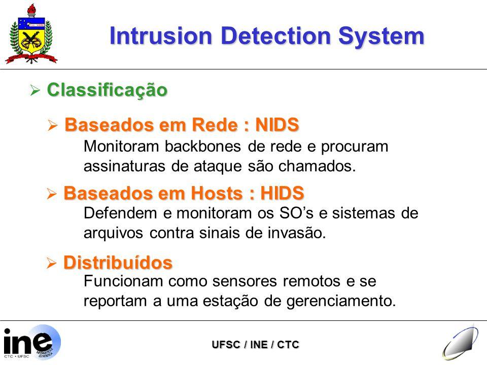 Intrusion Detection System UFSC / INE / CTC Classificação  Classificação Baseados em Rede : NIDS  Baseados em Rede : NIDS Monitoram backbones de rede e procuram assinaturas de ataque são chamados.