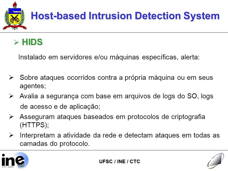 Host-based Intrusion Detection System UFSC / INE / CTC HIDS  HIDS Instalado em servidores e/ou máquinas específicas, alerta:  Sobre ataques ocorridos contra a própria máquina ou em seus agentes;  Avalia a segurança com base em arquivos de logs do SO, logs de acesso e de aplicação;  Asseguram ataques baseados em protocolos de criptografia (HTTPS);  Interpretam a atividade da rede e detectam ataques em todas as camadas do protocolo.