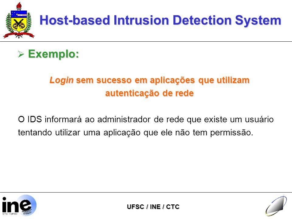 Host-based Intrusion Detection System UFSC / INE / CTC Exemplo:  Exemplo: Login sem sucesso em aplicações que utilizam autenticação de rede O IDS informará ao administrador de rede que existe um usuário tentando utilizar uma aplicação que ele não tem permissão.