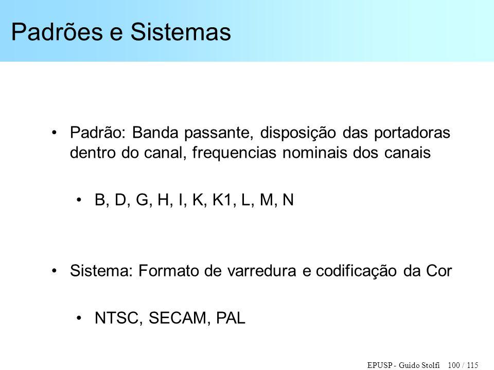 EPUSP - Guido Stolfi 100 / 115 Padrões e Sistemas •Padrão: Banda passante, disposição das portadoras dentro do canal, frequencias nominais dos canais