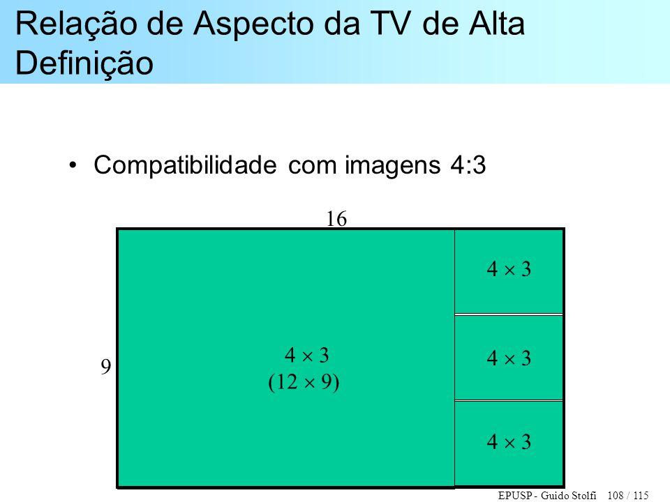 EPUSP - Guido Stolfi 108 / 115 Relação de Aspecto da TV de Alta Definição •Compatibilidade com imagens 4:3 4  3 (12  9) 4  3 16 9