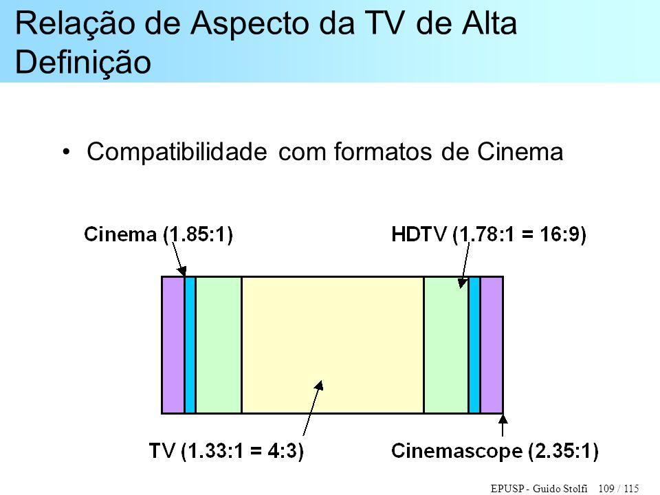 EPUSP - Guido Stolfi 109 / 115 Relação de Aspecto da TV de Alta Definição •Compatibilidade com formatos de Cinema