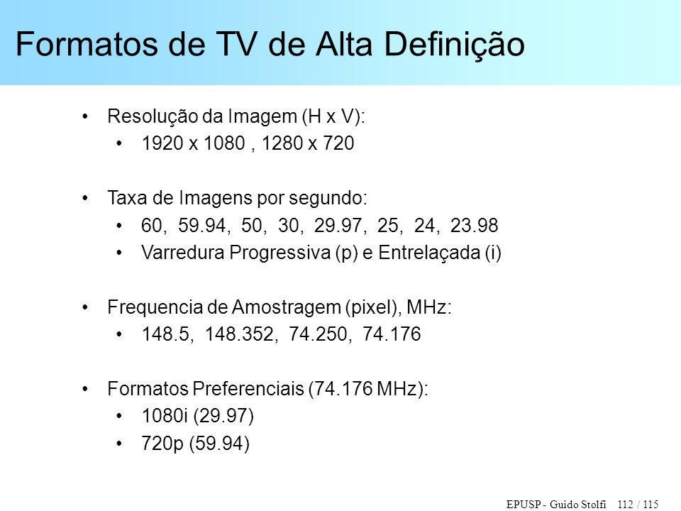EPUSP - Guido Stolfi 112 / 115 Formatos de TV de Alta Definição •Resolução da Imagem (H x V): •1920 x 1080, 1280 x 720 •Taxa de Imagens por segundo: •
